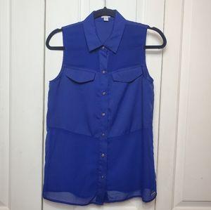 Guess sleeveless button down dress shirt